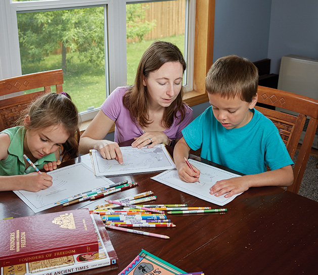 Sarah Gibson is able to incorporate her family's religious life into their homeschool day.