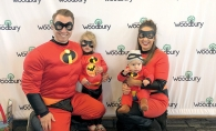 A family in costume as the Incredibles at Woodbury's Halloween Hoopla event.