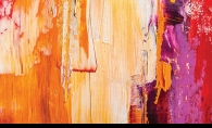 Orange, yellow, red and purple paint on a canvas.
