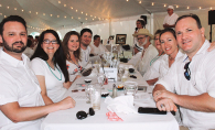 A group of diners at Le Dîner en Blanc to support the Woodbury Heritage Society's efforts to preserve the Miller Barn.
