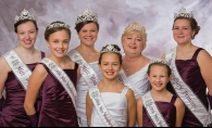 From left: Miss Woodbury Princess Megan Wolf, Little Miss Woodbury Princess Sammy Ogle, Miss Woodbury Lynnae Boe, Little Miss Woodbury Isabelle Fournier, Woodbury Senior Queen Karen Malone, Little Miss Woodbury Princess Faith Fogarty and Miss Woodbury Princess Maureen Oien.