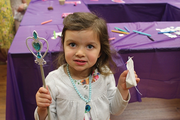 A young guest at the Woodbury Recreation spring tea party.