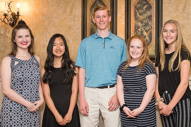 Scholarship recipients Lauren Kramer, Kayla Chan, Joseph Duncan, Megan Danley and Shelby Domagala at the 33rd annual Woodbury Area Chamber of Commerce golf tournament