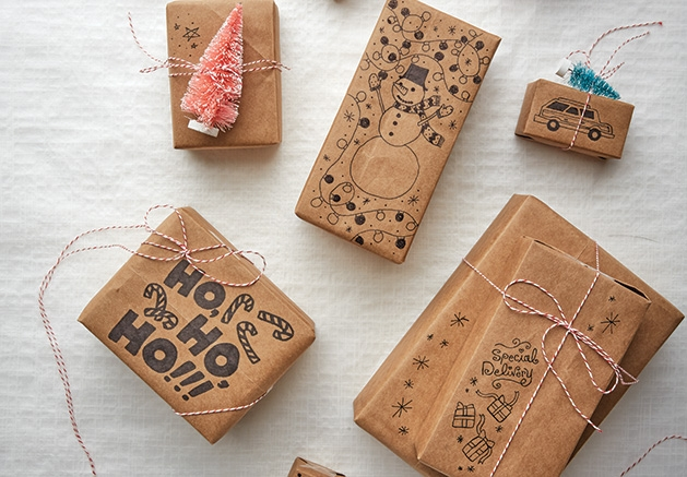 Gifts wrapped in environmentally friendly wrapping paper.