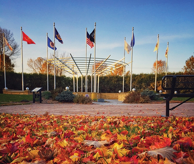 The fall colors at the Woodbury Lions Veterans Memorial
