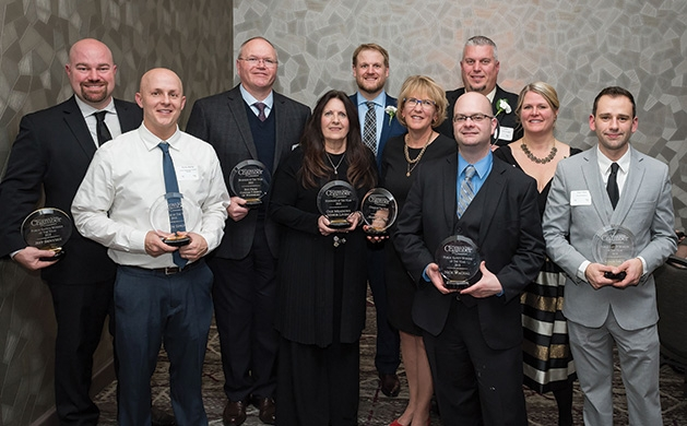 Award winners at the Woodbury Area Chamber of Commerce gala.