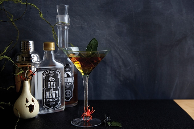 A variety of Halloween drinks and decor ideas