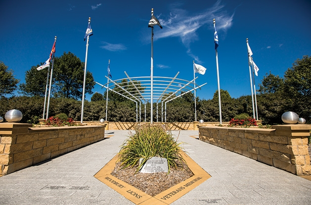 The veterans memorial in Woodbury Lions Veterans Memorial Park