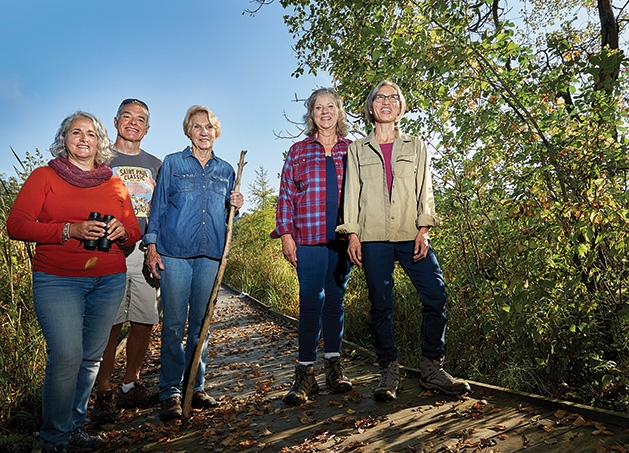 Tamarack Nature Preserve stewards, from left, Dana Boyle, Pete Grasse, Jackie Cronin, Kerry Bieze and Stephanie Wang.