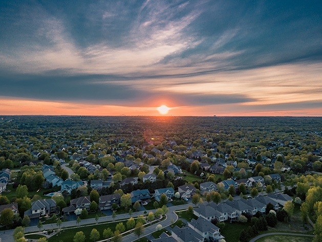 A drone shot of Woodbury from above.