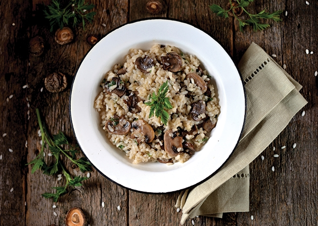 Risotto plated and garnished