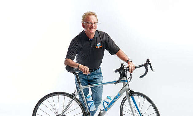 Terry Stille with his bicycle.