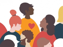 An illustration of a group of people, one of them wearing a yellow shirt with a red heart on it.