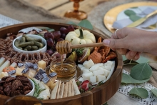 A beautifully arranged cheese board