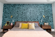 A wall covered in blue mural paper.