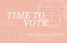 A graphic announcing voting for the 2020 Best of Woodbury Magazine readers' choice survey.