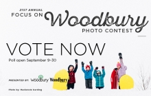 A graphic advertising voting for the 2019 Focus on Woodbury photo contest.
