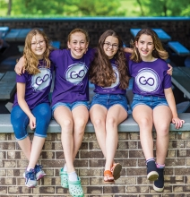 Four girls who participate in GirlOnward, a Woodbury nonprofit focused on giving girls leadership skills.