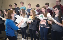 The East Ridge High School choir practices