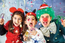 Kids celebrate at the Woodbury rec department's New Year's Eve Family Celebration at HealthEast Sports Center