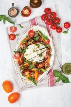 Burrata with Balsamic, Tomatoes and Basil