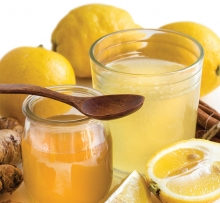 A tea to cure colds made from lemon, honey, ginger and other ingredients