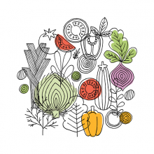 An illustration of various fruits and vegetables.