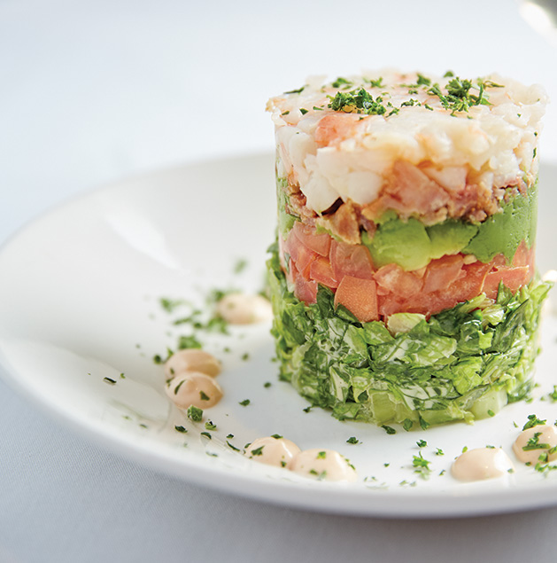 Shrimp and avocado stack salad from Lake Elmo Inn